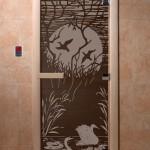 """Дверь для саун """"Лебединое озеро"""" черный жемчуг"""