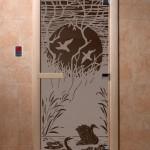 """Дверь для саун """"Лебединое озеро"""" черный жемчуг матовая"""