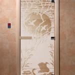 """Дверь для саун """"Лебединое озеро"""" сатин"""
