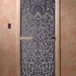 """Двери для саун """"Флоренция"""" синий жемчуг матовая"""