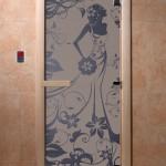"""Дверь для саун """"Девушка в цветах"""" синий жемчуг"""
