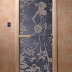 """Дверь для саун """"Девушка в цветах"""" синий жемчуг матовая"""