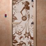 """Дверь для саун """"Девушка в цветах"""" бронза"""