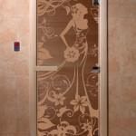 """Дверь для саун """"Девушка в цветах"""" бронза матовая"""