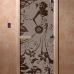 """Дверь для саун """"Девушка в цветах"""" черный жемчуг"""