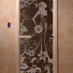 """Дверь для саун """"Девушка в цветах"""" черный жемчуг матовая"""