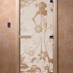 """Дверь для саун """"Девушка в цветах"""" прозрачная"""