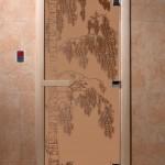 """Дверь для саун """"Береза"""" бронза матовая"""