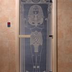 """Дверь для саун """"Египет"""" синий жемчуг"""