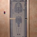 """Дверь для саун """"Египет"""" синий жемчуг матовая"""