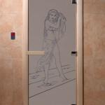 """Дверь для саун """"Дженифер"""" синий жемчуг матовая"""