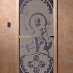 """Дверь для саун """"Посейдон"""" синий жемчуг матовая"""
