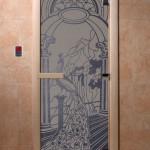 """Дверь для саун """"Жар-птица"""" синий жемчуг матовая"""