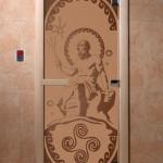 """Дверь для саун """"Посейдон"""" бронза матовая"""