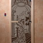 "Дверь для саун ""Жар-птица"" черный жемчуг матовая"