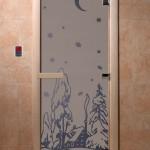 """Дверь для саун """"Зима"""" синий жемчуг матовая"""