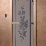 """Двери для саун """"Розы"""" сииний жемчуг матовая"""