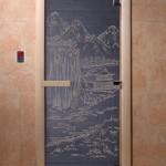 "Дверь для саун ""Китай"" синий жемчуг"