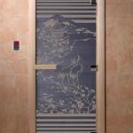 """Дверь для саун """"Япония"""" синий жемчугм"""