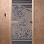 """Дверь для саун """"Япония"""" синий жемчуг матовая"""