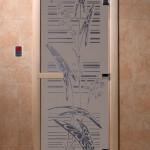 """Дверь для саун """"Листья"""" синий жемчуг матовая"""