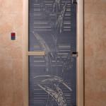 """Дверь для саун """"Листья"""" синий жемчуг"""