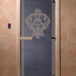 """Дверь для саун """"Византия"""" синий жемчуг"""