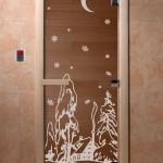 """Дверь для саун """"Зима"""" бронза"""