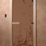 """Дверь для саун """"Зима"""" бронза матовая"""