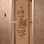 """Двери для саун """"Розы"""" бронза матовая"""