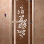 """Двери для саун """"Розы"""" бронза"""