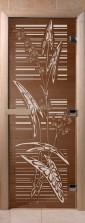 """Дверь для саун """"Листья"""" бронза"""