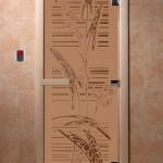 """Дверь для саун """"Листья"""" бронза матовая"""