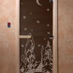 """Дверь для саун """"Зима"""" черный жемчуг"""