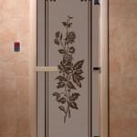 """Двери для саун """"Розы"""" черный жемчуг матовая"""