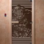 """Дверь для саун """"Япония"""" черный жемчуг"""