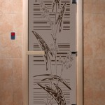 """Дверь для саун """"Листья"""" черный жемчуг матовая"""