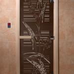 """Дверь для саун """"Листья"""" черный жемчуг"""