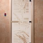 """Дверь для саун """"Листья"""" сатин"""