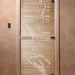 """Дверь для саун """"Листья"""" прозрачная"""