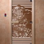 """Дверь для саун """"Япония"""" бронза"""