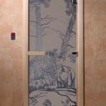 """Дверь для саун """"Мишки в лесу"""" синий жемчуг матовая"""