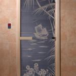"Дверь для саун ""Голубая лагуна"" синий жемчуг"