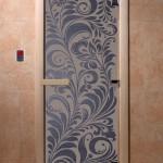"""Двери для саун """"Хохлома"""" синий жемчуг матовая"""