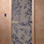 """Дверь для саун """"Венеция"""" синий жемчуг матовая"""