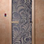 """Двери для саун """"Хохлома"""" синий жемчуг"""