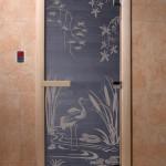 """Дверь для саун """"Камышовый рай"""" синий жемчуг"""