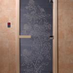 """Дверь для саун """"Жасмин"""" синий жемчуг"""