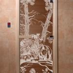 """Дверь для саун """"Мишки в лесу"""" бронза"""