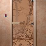 """Дверь для саун """"Мишки в лесу"""" бронза матовая"""